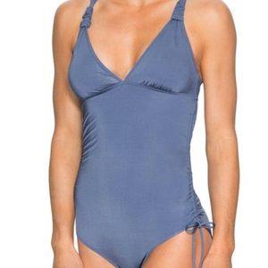 Athleta Powder Blue One Piece Ruched Bathing Suit